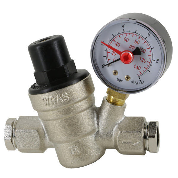 Pressure Reducing Valve with Gauge WRAS Approved - Plumbing and Heating Supplies UK
