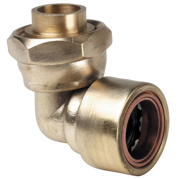 "1/2"" x 15mm Copper Push Fit Bent 90 Degree Tap Connector - Plumbing and Heating Supplies UK"