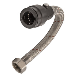 "1/2"" x 15mm x 300mm Push Fit Flexible Hose Tap Connector with Isolation Valve - WRAS Approved"