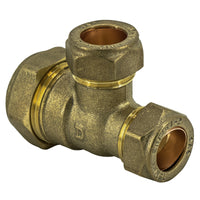 22mm x 15mm x 15mm Compression Reducing Tee - Plumbing and Heating Supplies UK