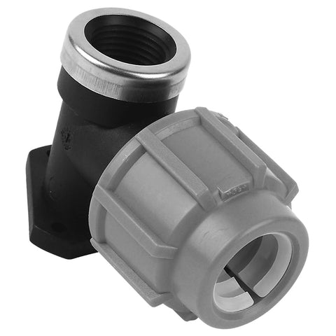 MDPE Alkathene Premium Plast 90 Degree Female Iron Elbow with Back Plate - 20mm and 25mm - Plumbing and Heating Supplies UK