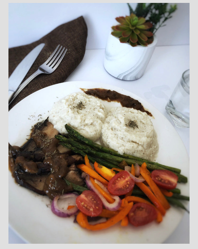 Portobello Mushroom Steak, Cauliflower Mash, Veg & Gravy