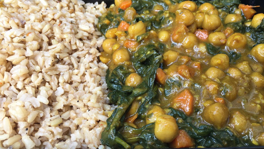 Curried Chickpea with Rice or Cauliflower Rice