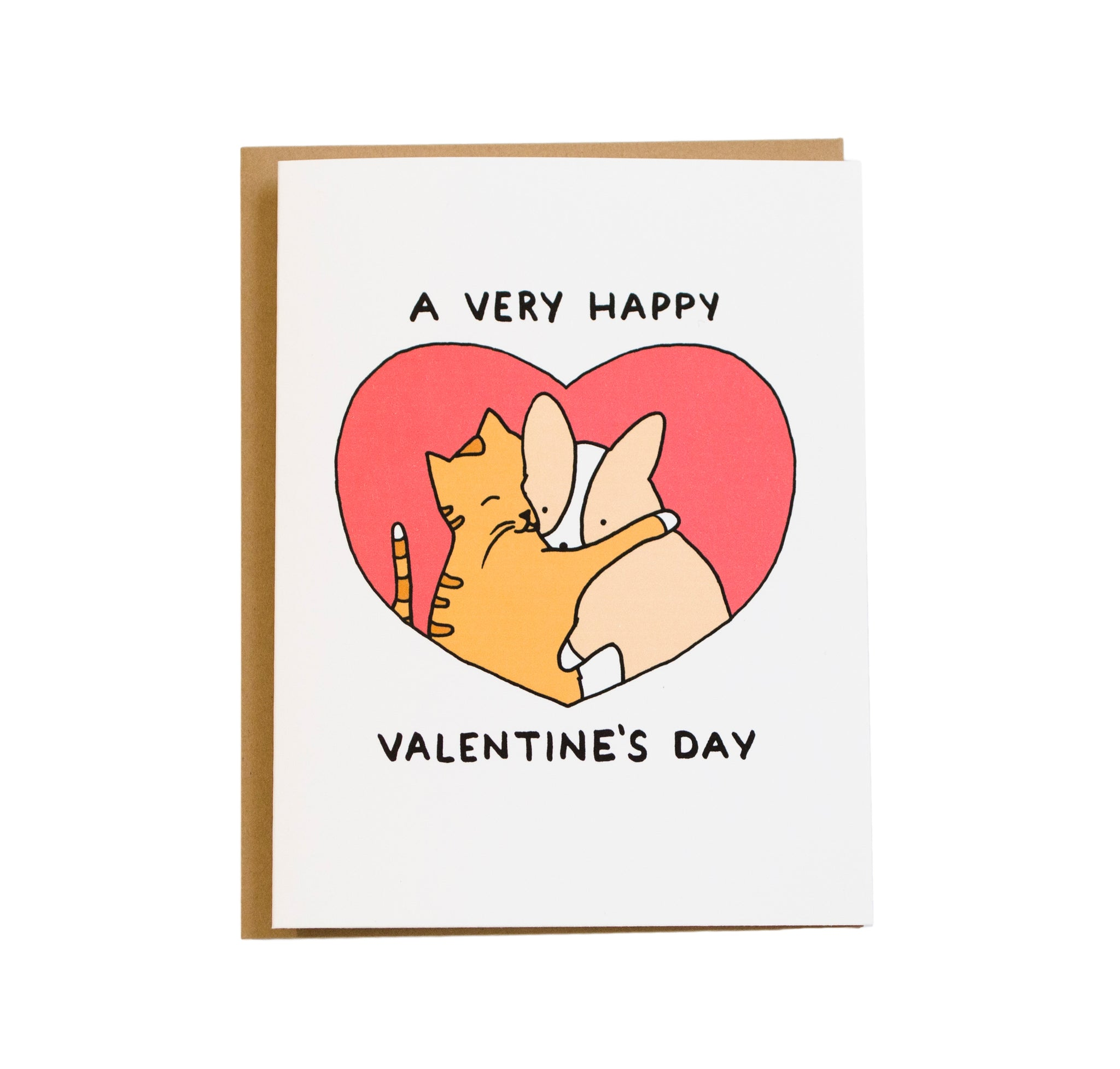 cat hugging corgi valentine's day card