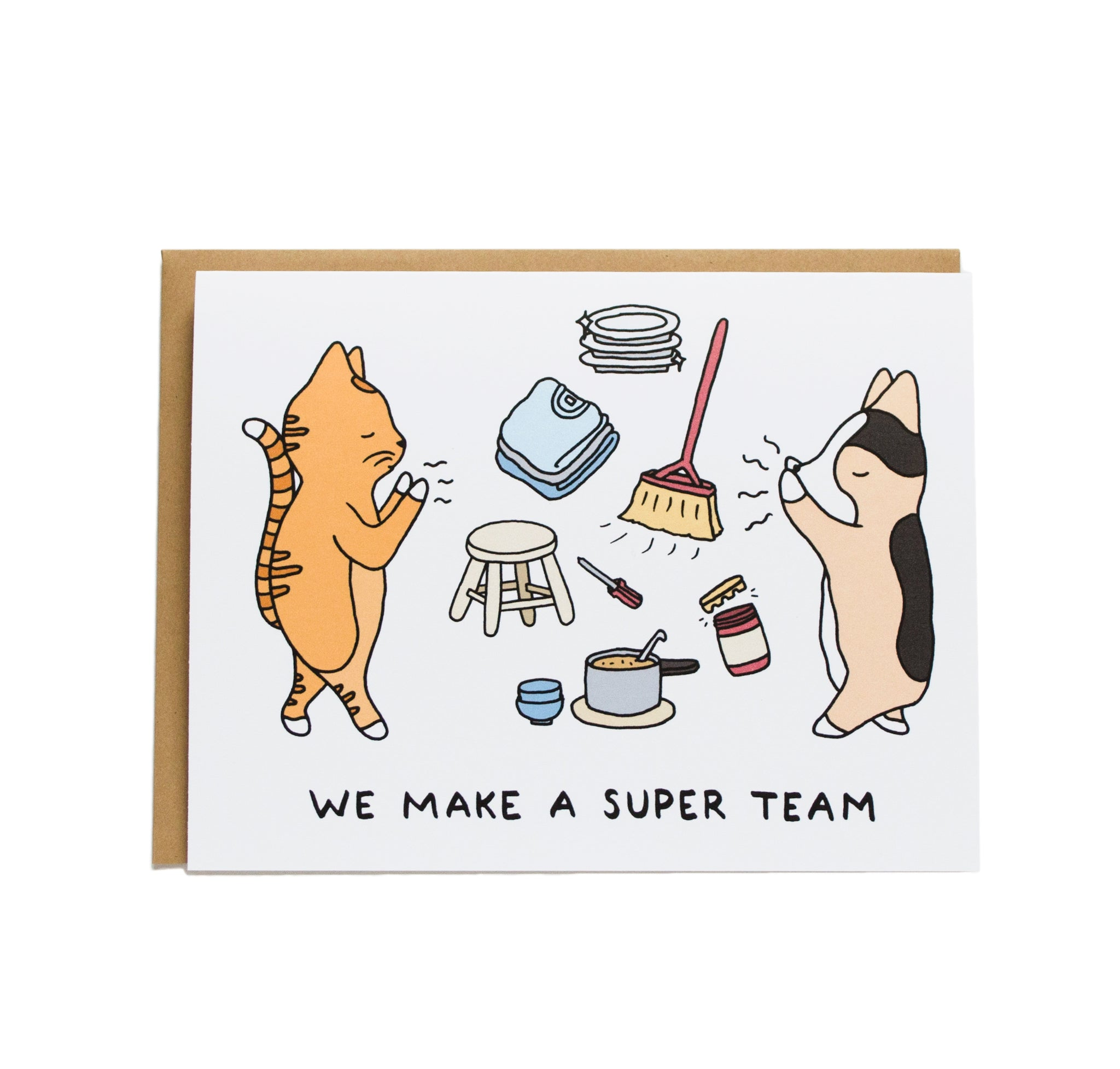 corgi and cat super powers, laundry, cleaning, cooking, dishes, and card reads We make a super team