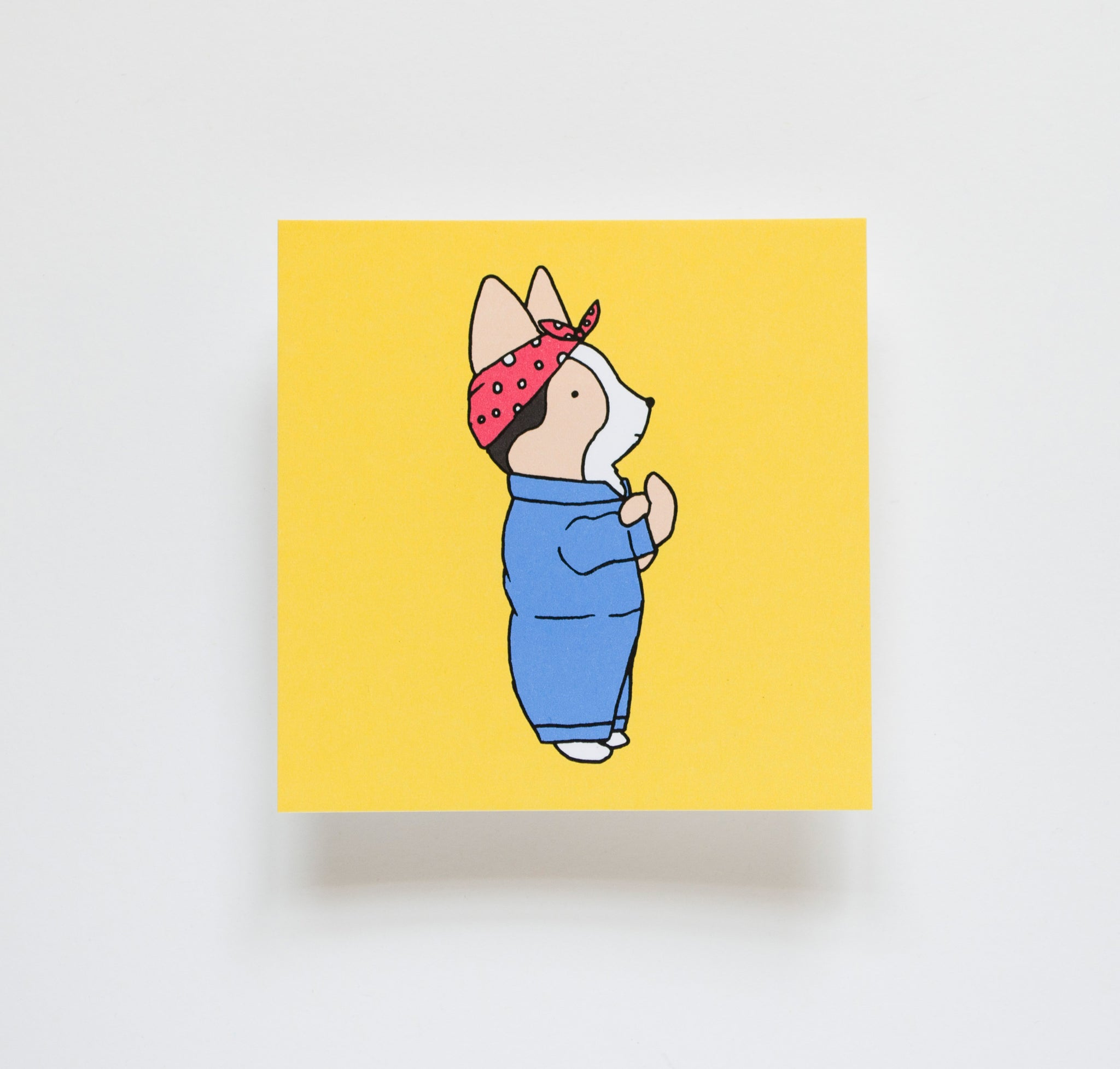 "Rosie the Riveter Corgi 4x4"" Mini Print"