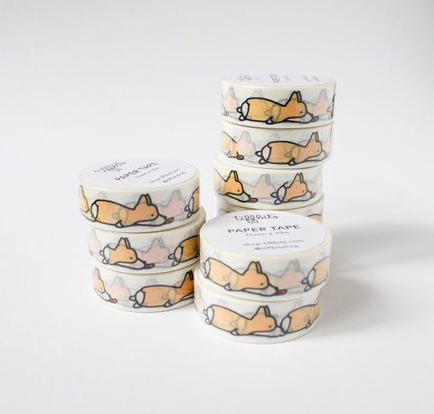 Tongue Out Corgi Paper Tape, Washi Tape, Gift Wrap