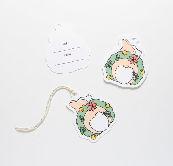 Corgi Wreath Holiday Die Cut Gift Tags