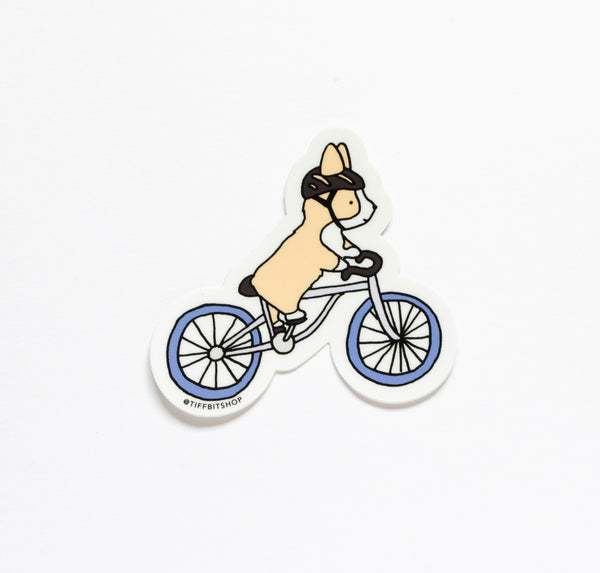 corgi riding bicycle vinyl sticker