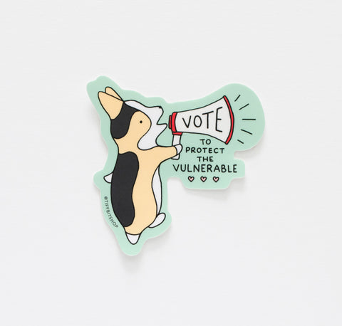 Vote To Protect the Vulnerable Corgi Sticker