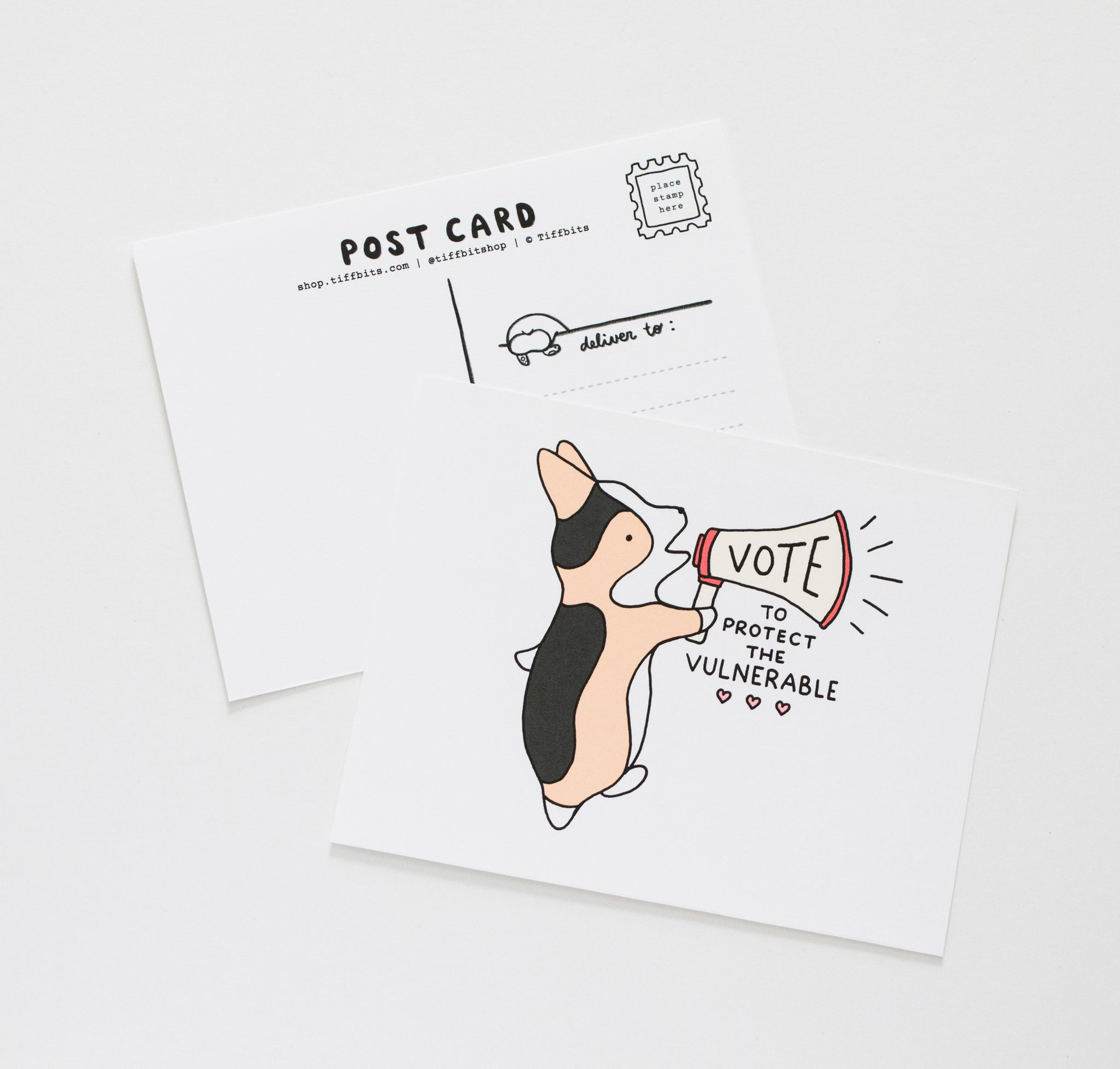 "postcard design has a marching tricolor corgi talking on a megaphone with the words ""vote"" on it under, underneath continues to read 'to protect the vulnerable'"