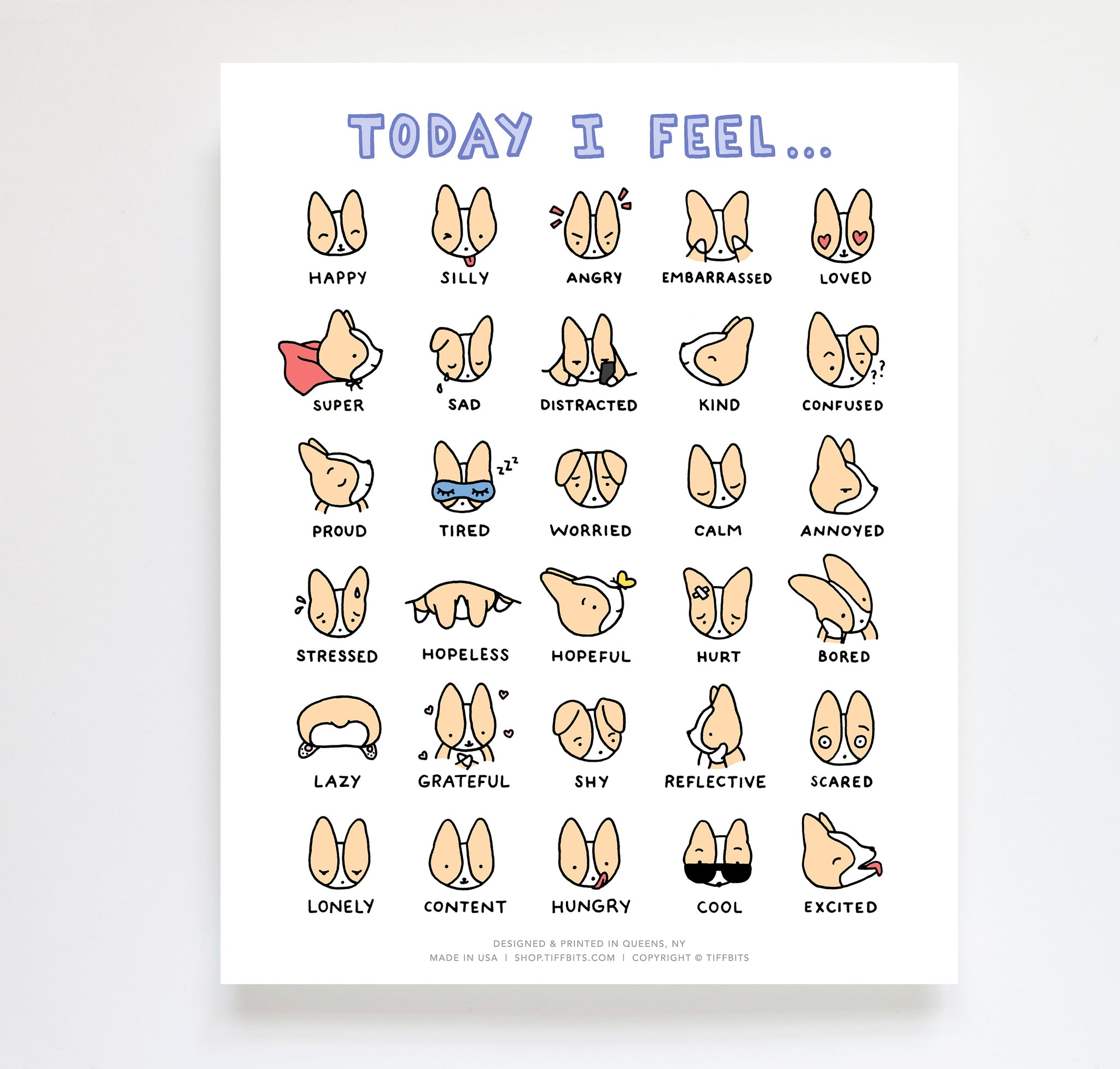 "Corgi Feelings Chart 8x10"" Art Print"