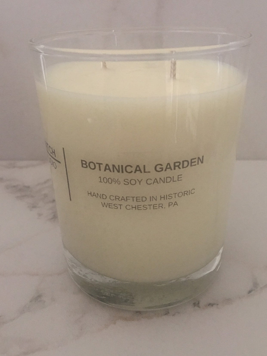 BOTANICAL GARDEN 100% soy wax candle, double wick, 10 oz., hand crafted in glass tumbler with fragrance and essential oils