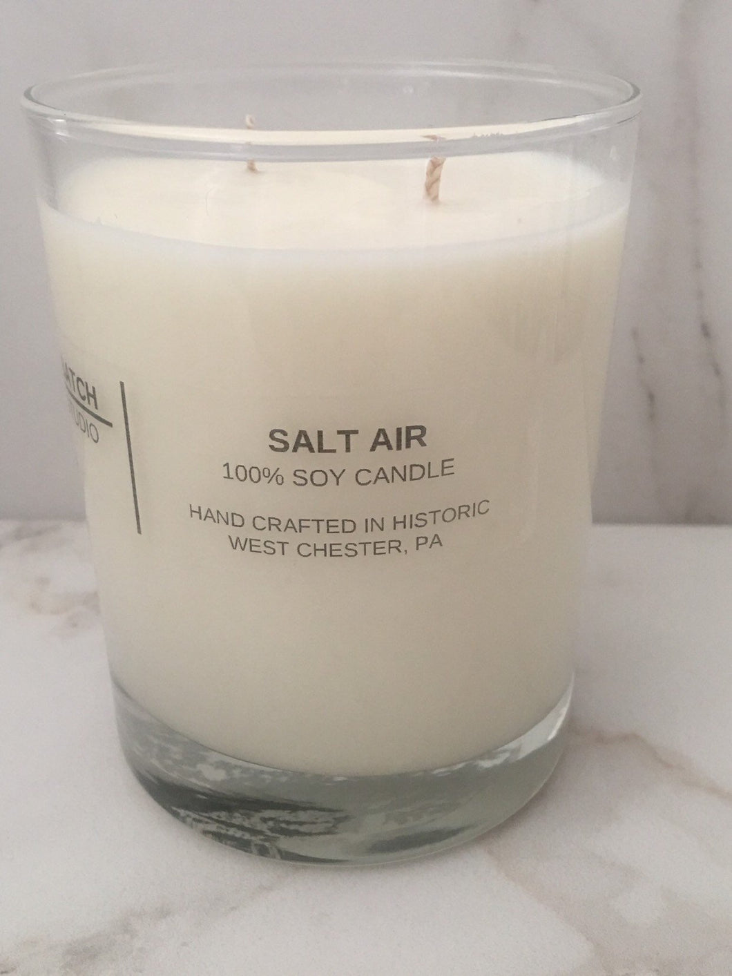 SALT AIR  100% soy wax candle, double wick, 10 oz., hand crafted in glass tumbler with fragrance and essential oils