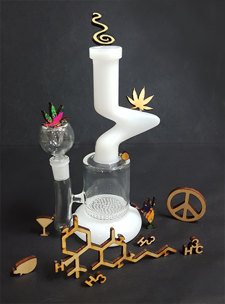 Artisan weed, wood puzzles.  These jigsaw puzzle pieces include hemp leaves, martini glasses, THC compound, peace, coffee cups and more all resting around a bubbler.  These weed puzzles are one of a kind!