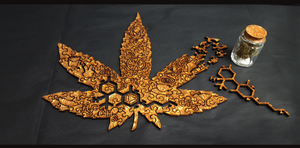 Cannabis wood puzzles.  These are artisan wood, weed puzzles. Choose from three hemp, jigsaw templates: Rocky Mountain High, Bud, or Mary Jane.  Each puzzle has pieces such as:  420, lighters, bongs, guitars, THC compound, VW buses, and more.