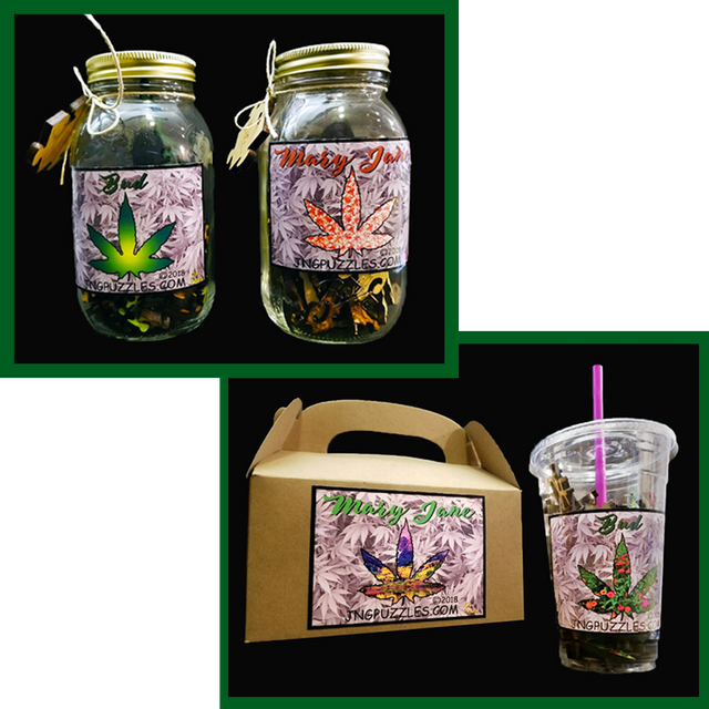 Your marijuana puzzle comes in a weed jar, or munchie box, or soda cup to cure the cotton mouth.