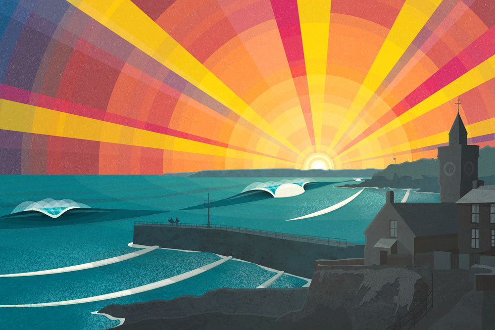 New limited edition 'Porthleven Sunset' print