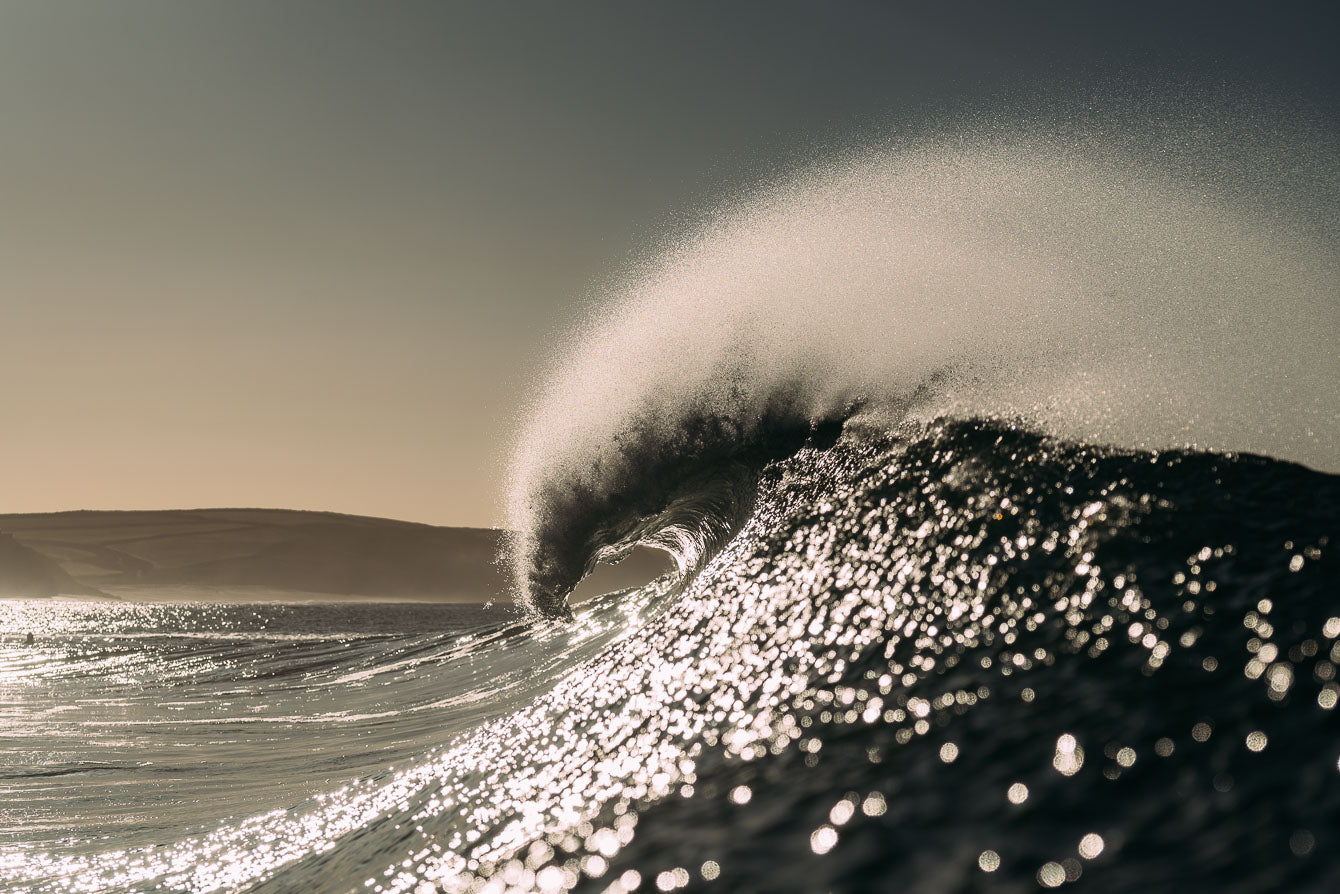 Winter surfing in Porthleven Cornwall by Laurie McCall Art and Photography