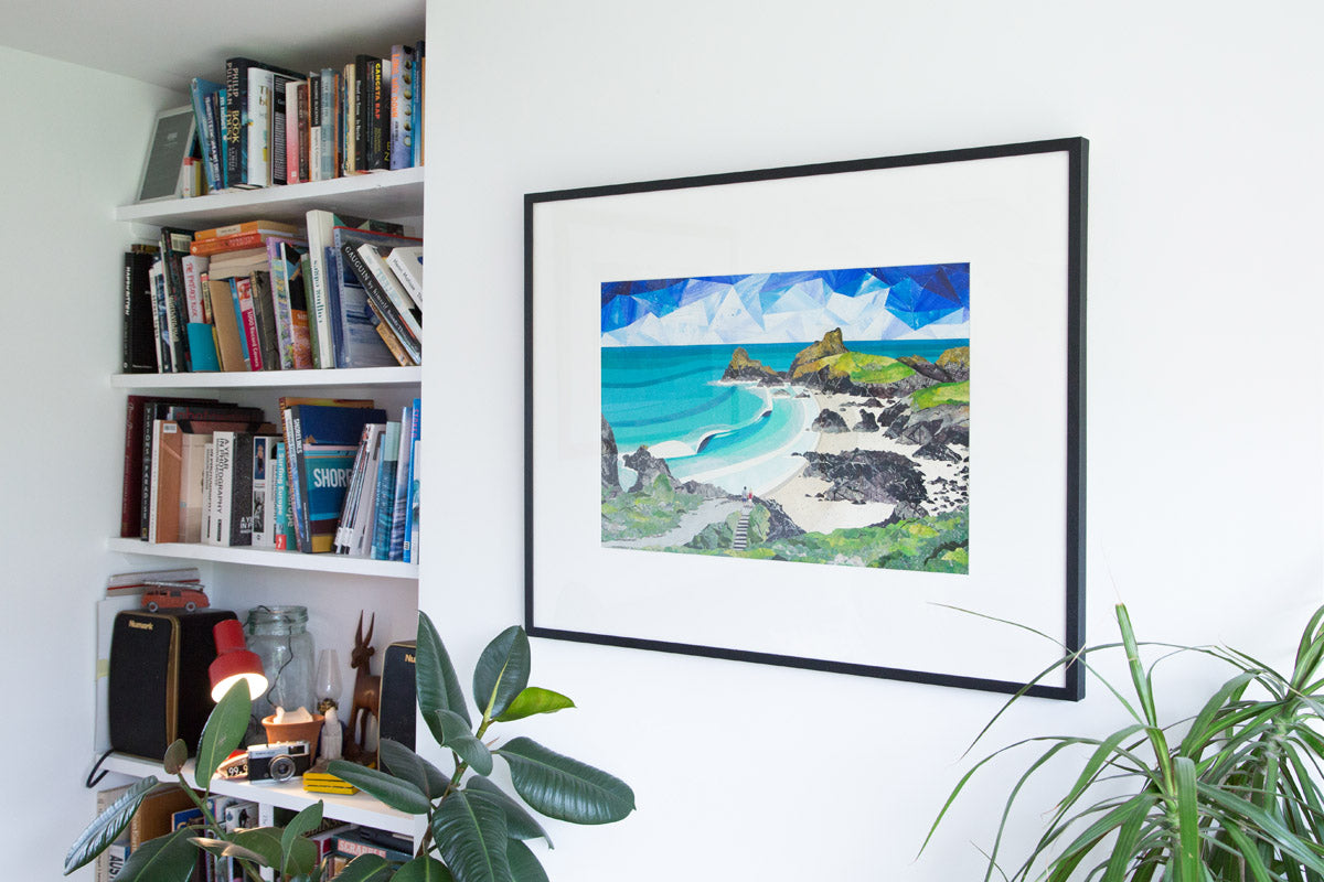 Kynance Cove Cornwall, framed collage by artist Laurie McCall