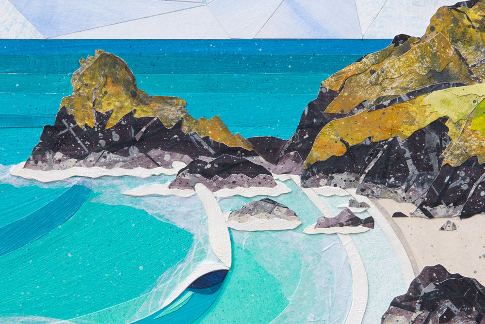 Detail of 'Kynance Cove' collage by Cornish artist Laurie McCall
