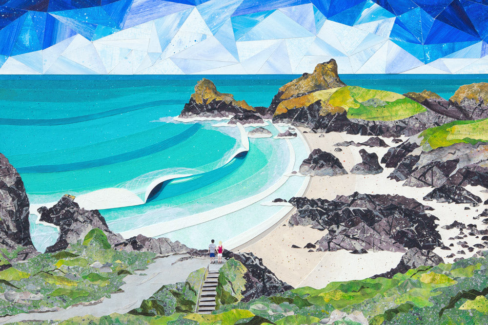 Kynance Cove collage and prints by Cornish artist Laurie McCall