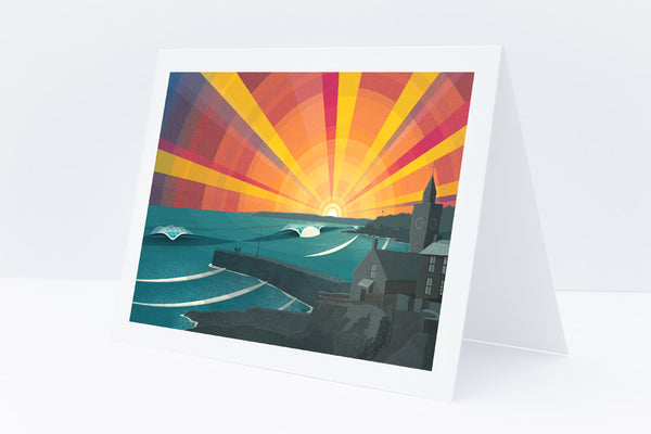 Porthleven Sunset greetings card by Laurie McCall