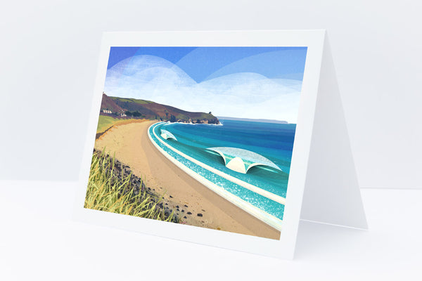 Praa Sands greetings card by Laurie McCall