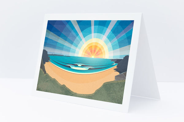 Watergate Bay greetings card by Laurie McCall