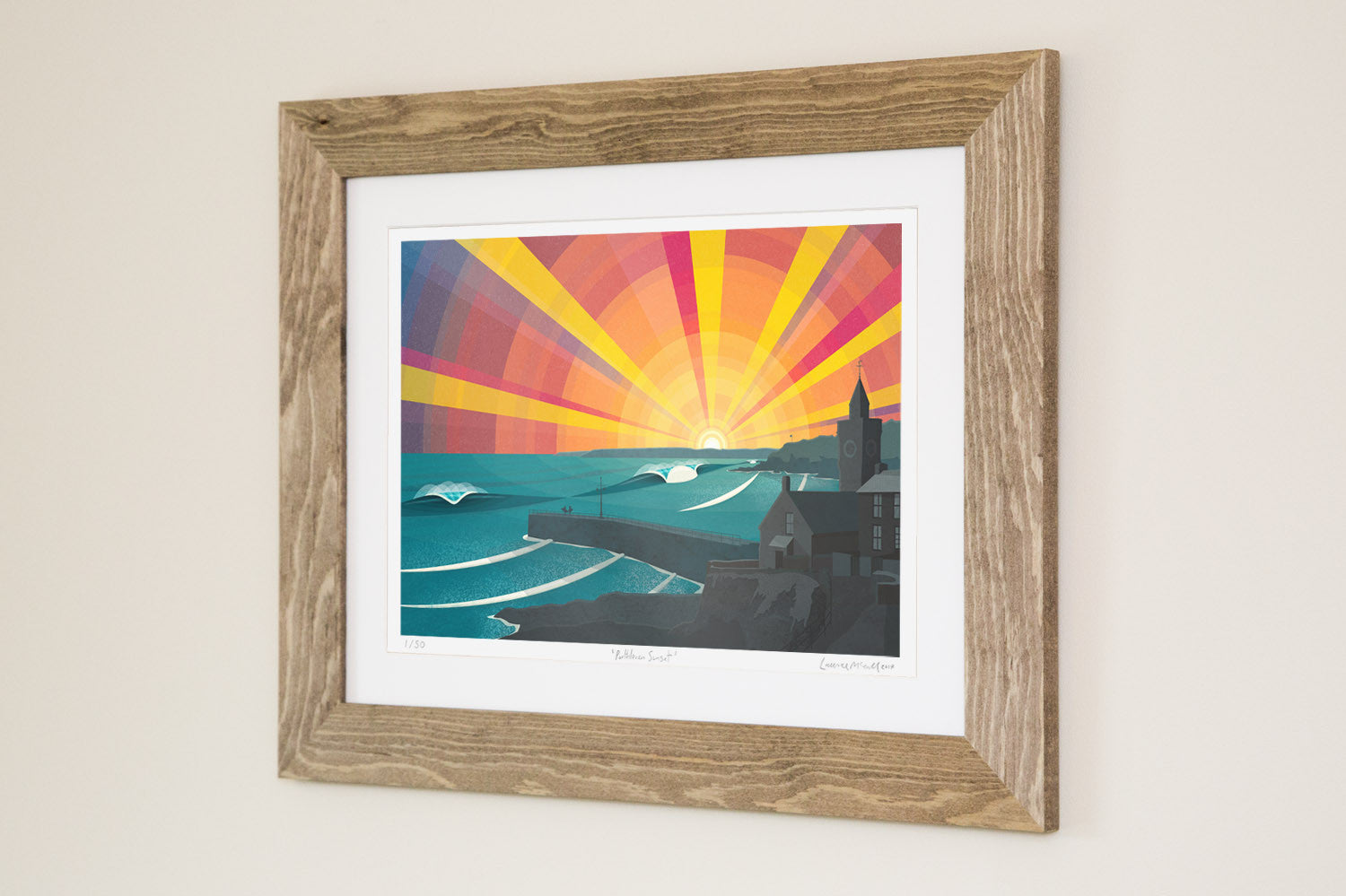 Porthleven Sunset by Laurie McCall Cornish surf artist. Limited edition print in natural wood frame.
