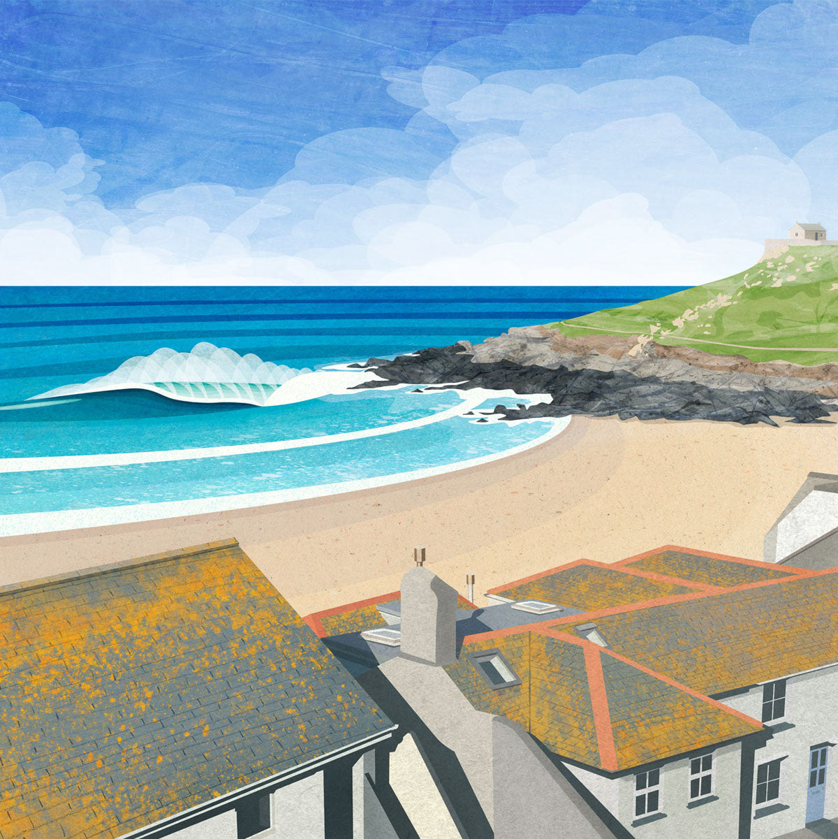 Porthmeor St Ives Cornwall Print by Laurie McCall