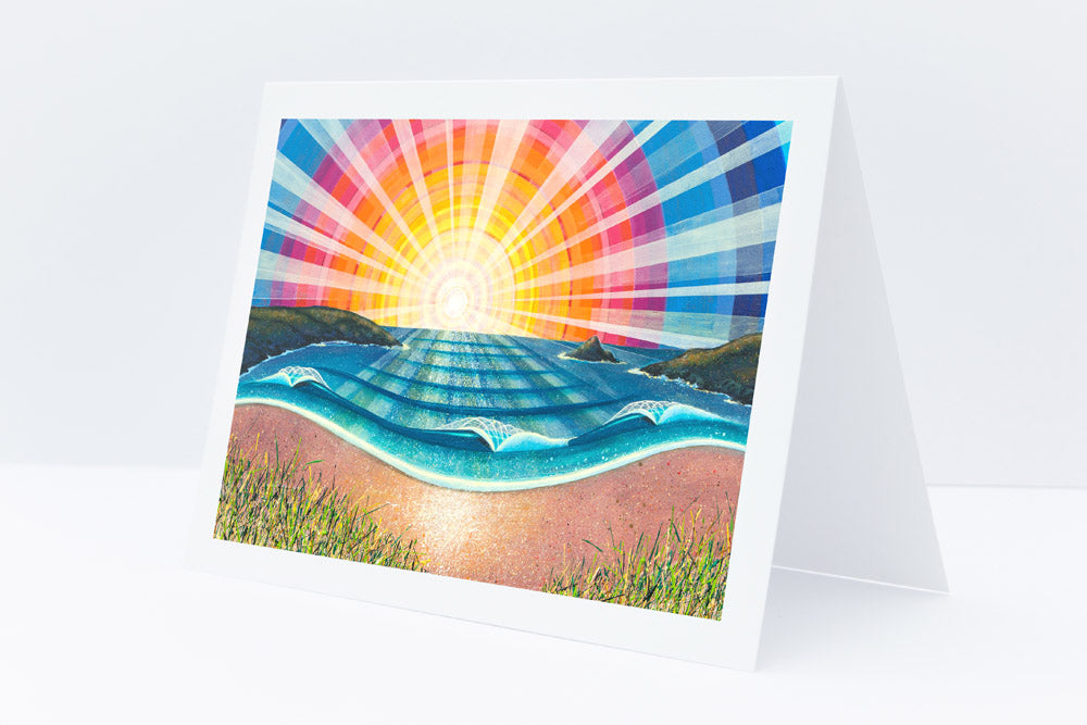 'Crantock Beach' Greetings Card