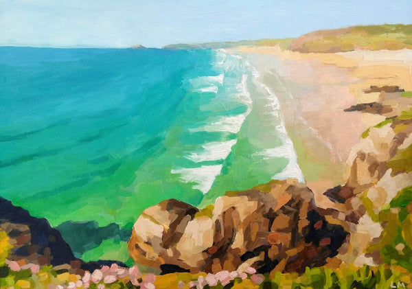 'Perranporth Beach' Original Oil Painting (SOLD)