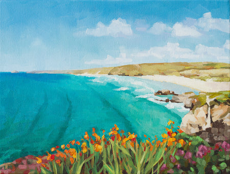 'Perranporth' Framed Oil Painting