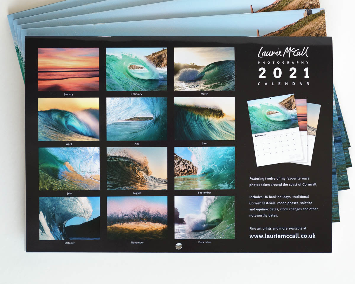 Laurie McCall Cornwall Wave Photo Calendar 2021