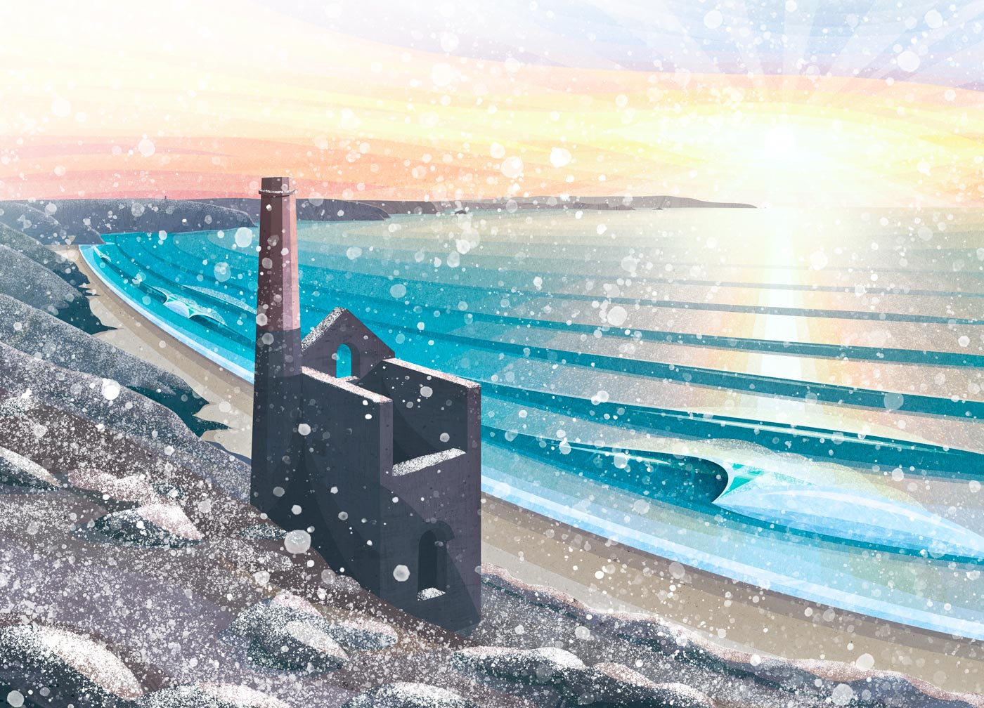 Wheal Coates Chapel Porth Snow Christmas Card by Laurie McCall Art Cornwall