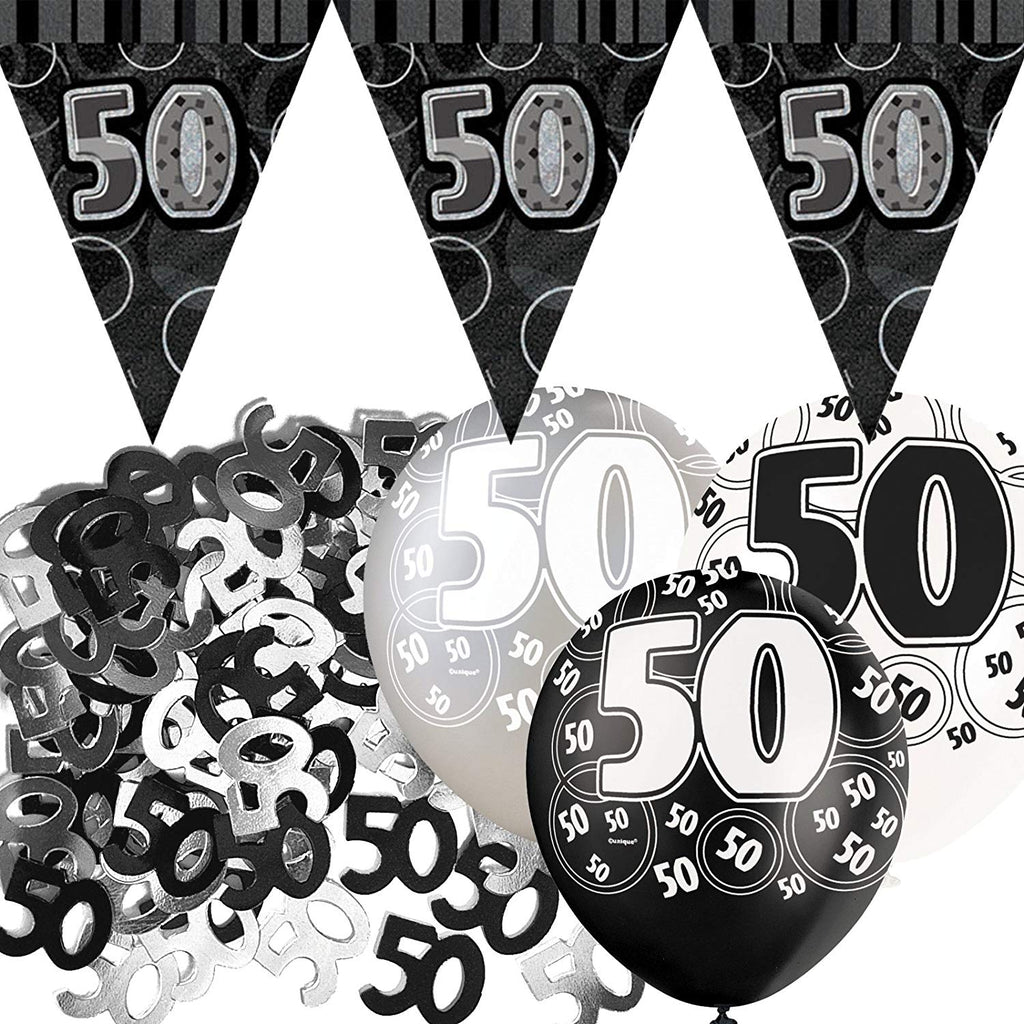 Black Silver Glitz 50th Birthday Flag Banner Party Decoration Pack