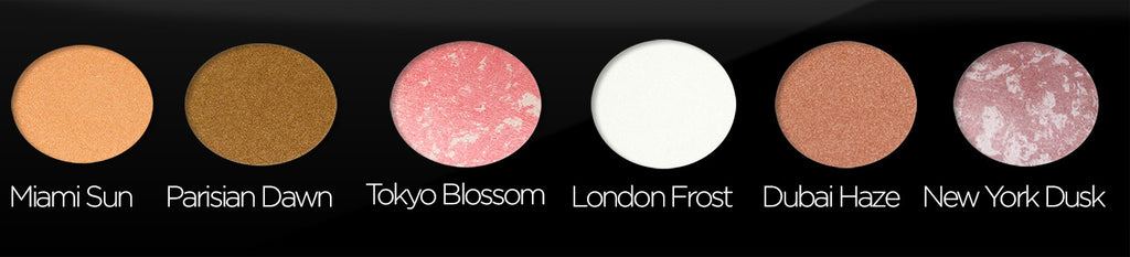 Palette Colours Miami Sun Parisian Dawn Tokyo Blossom London Frost Dubai Haze New York Dusk