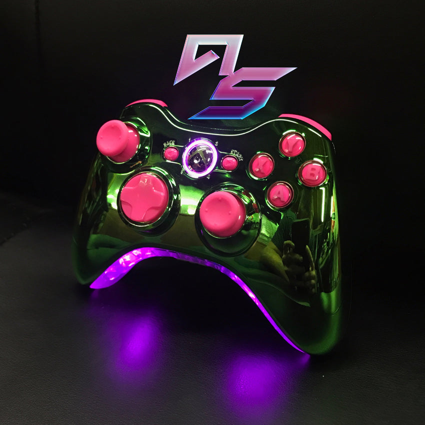 Green Chrome with Pink Xbox 360 Controller - AquaSilvermist