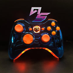 Chrome Blue and Orange Xbox 360 Controller - AquaSilvermist