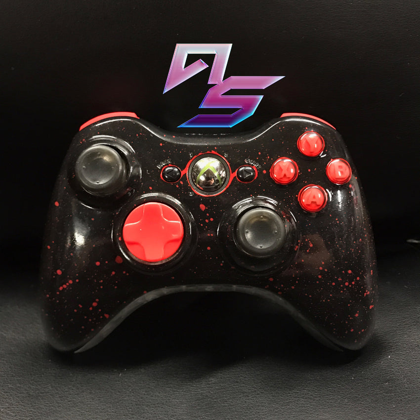 Black and Splatter Red Xbox 360 Controller - AquaSilvermist