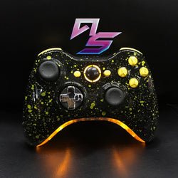 Black and Yellow Splatter Xbox 360 Controller