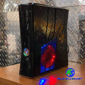 Custom Black Xbox 360 Slim RGH2 (LEDs/Cut Out of Your Choice) - AquaSilvermist