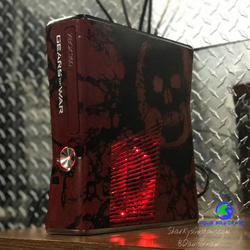 Custom Limited Edition Gears of War Xbox 360 Slim RGH2 (LEDs of Your Choice) - AquaSilvermist