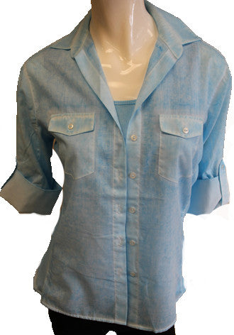 Button-Front Oil-Washed Shirt