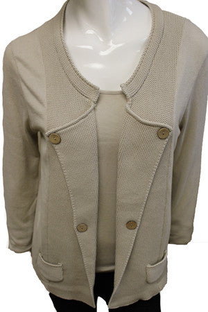 Buttoned Lapel Cardigan