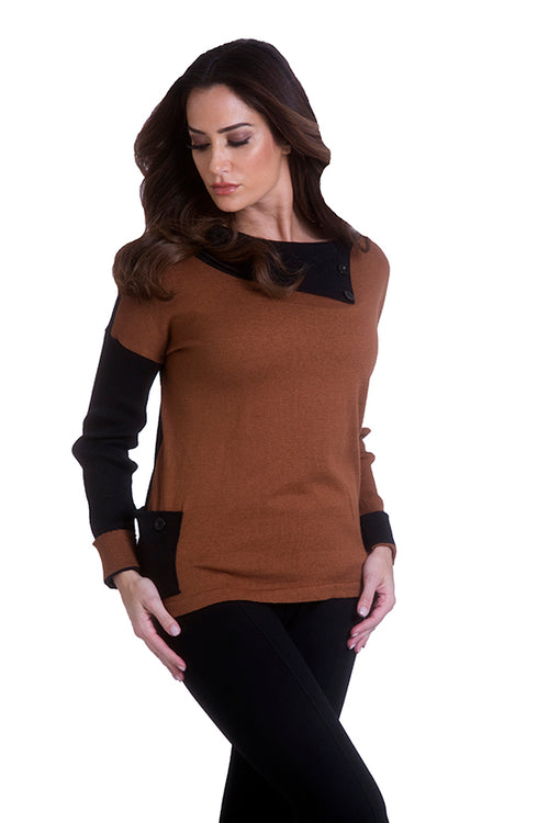 Button Cowl Neck Pullover