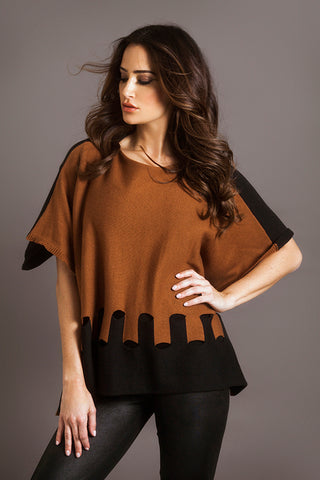 Color Block V Neck Poncho