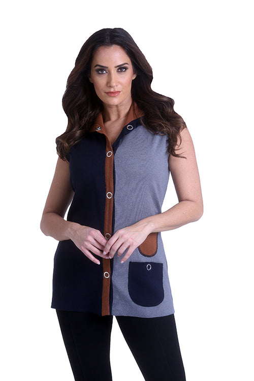 Long Color Block Vest