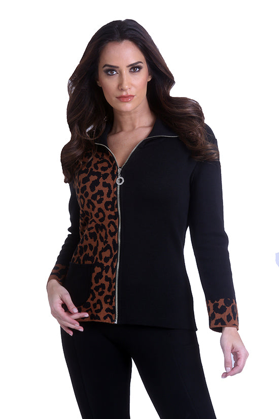 Cheetah Zip Cardigan